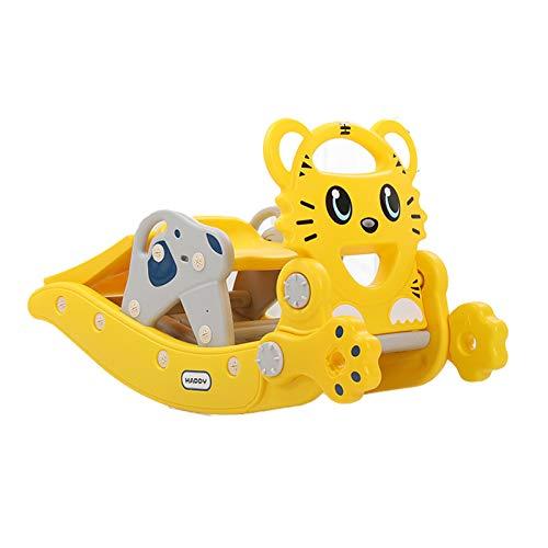 HWZZ Silla De Caballo Mecedora Multifuncional para Bebé Tobogán 2 En 1 Juguete Animal Deslizante para Niños Creativo Adecuado para Regalos De Cumpleaños para Bebés,Amarillo