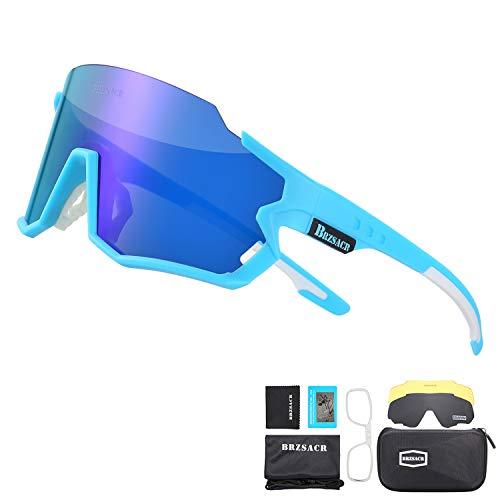 BRZSACR Polarisierte Sport-Sonnenbrille mit austauschbaren Lenes für Männer Frauen Radfahren Laufen Fahren Angeln Golf Baseball Brillen (3-Farben-Wechselobjektiv) (Blau)