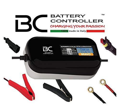 BC Battery Controller BC BRAVO 2000, Digitales Batterieladegerät und Erhaltungsladegerät mit LCD, Batterie- und Ladesystem-Prüfgerät für alle 12V Blei-Säure Autobatterien und Motorradbatterien, 2 Amp