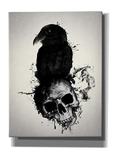 Cortesi Home Raven and Skull Wall Art, 12' x 16', Black
