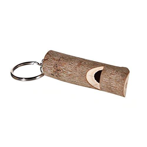 OOTB Schlüsselanhänger aus Metall mit Naturholzpfeife, Stiel, ca. 9 cm
