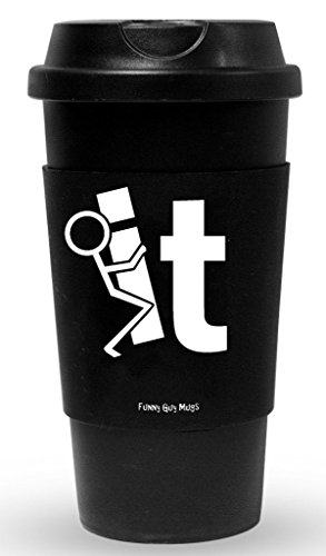 Funny Guy Mugs F It Travel Tumbler With Removable Insulated Silicone Sleeve, Black, 16-Ounce