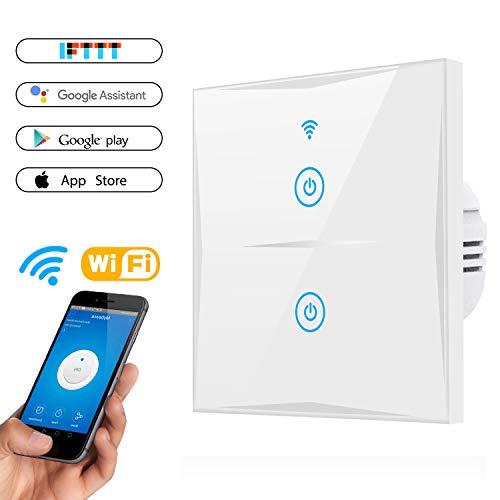 Wifi Smart Lichtschalter, MAMYOK WLAN In-Wall gehärtetes Glas Touchscreen-Schalter, arbeitet mit Amazon Alexa und Google Home, Überlastungsschutz, Timing-Funktion (2-weg)