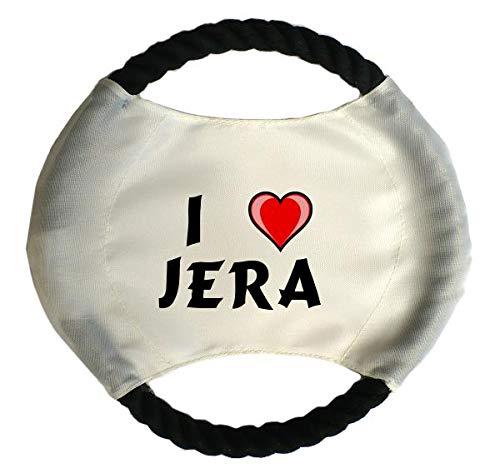 Personalisierter Hundefrisbee mit Aufschrift Ich liebe Jera (Vorname/Zuname/Spitzname)