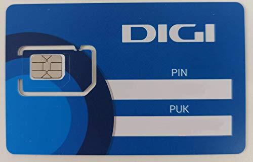 Tarjeta SIM prepago Digi Combo troquelada, 2G/3G/4G Compatible Reloj Inteligente e Infantil,alarmas y localizadores (40Gb + 2.000min Nacionales + internacionales)