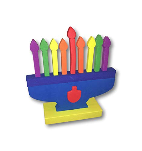 Hanukkah Foam Toy Menorah with Removable Colorful Candles and Dreidel Design 8' x 9'