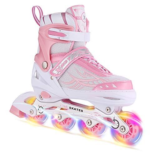インラインスケート 子供用 ジュニア ローラースケート キッズ 大人用 女の子 男の子 サイズ調整可能 発光 初心者向け静音通気 (M, PINK)