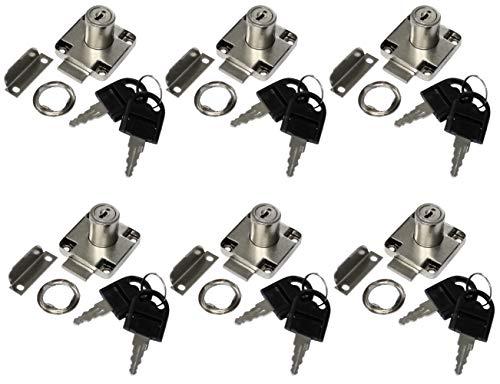 AERZETIX: 6X Cerraduras y Llaves para Puerta de Mueble cajón 40/40mm C41395