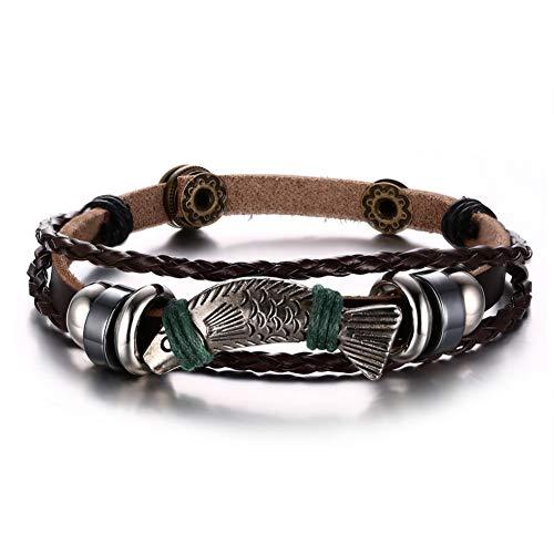 YCWDCS Armband Herren Leder Forelle Armband Mit Silberfarbenem Fisch Leder Armband Braun Geflochtenes Seil Braslet Männlicher S