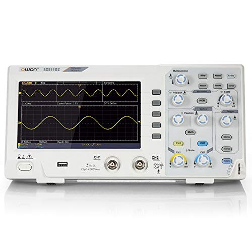 OWON SDS1102 Oscilloscope 2-Channel Digital Oscilloscopes 100MHZ Bandwidth 1GS/s High Accuracy Oscilloscope