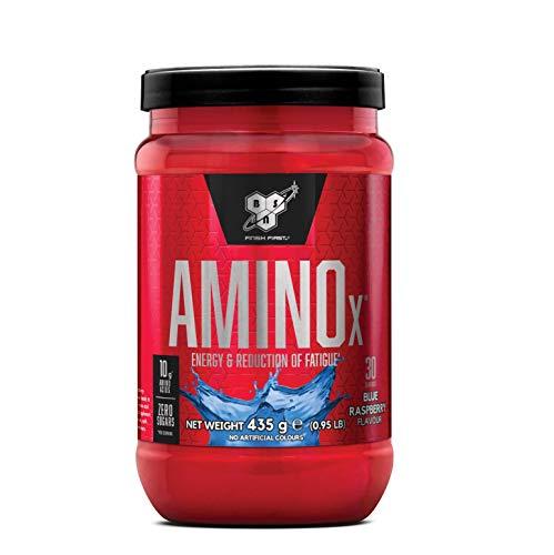 Порошок BSN Amino X BCAA, аминокислотный комплекс без сахара Высокая доза с витамином D, витамином B6, аргинином, таурином и аланином, голубой малиной, 30 порций, 435 г