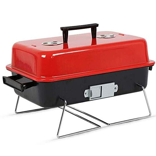 SIBY Aluminium Alloy Charcoal Grill Household Barbecue Grill Toaster for Garden Outdoor Charcoal Grill for Picnic Cooking BBQ Charcoal Grill with Legs,1 Pc(Red Color)