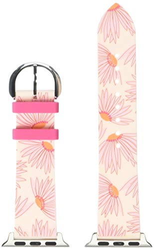 kate spade new york pink floral-print silicone 38/40mm interchangeable smartwatch band