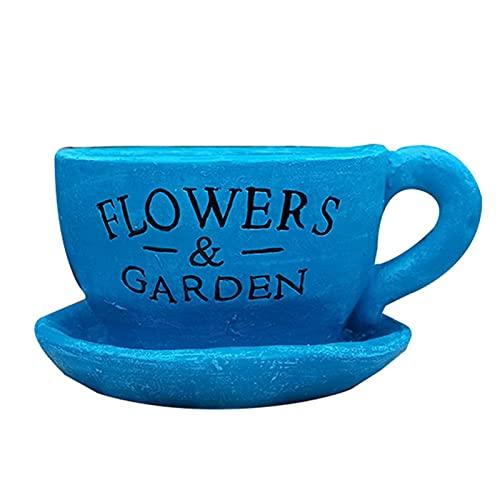 庭の装飾の創造的な植木鉢の大きいコーヒーカップの花瓶の中庭のバルコニーの造園は植えることができます luyiyi (Color : Blue)