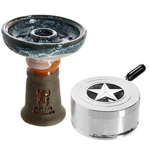 Kaya BigStar Set, Keramik Phunnel, Smokebox, Heat Management Zubehör für Wasserpfeifen (Dark - Weiß/Blau)