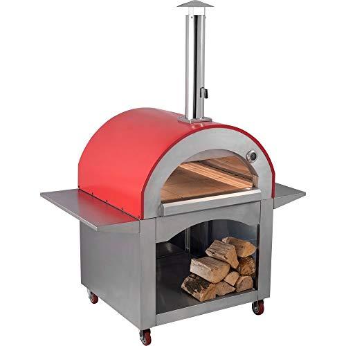 Megashopitalia Forno a Legna per Pizza 4 Pizze in Acciaio da Esterno Barbecue Giardino con Refrattario