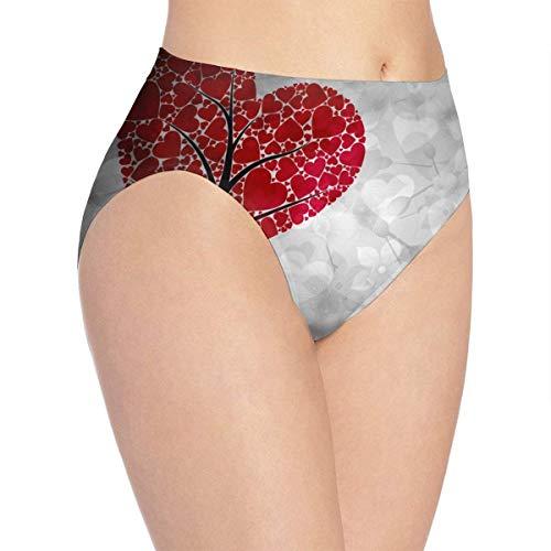 XCNGG Bragas Ropa Interior de Mujer 3D Print Soft Women's Underwear, Heart Tree Fashion Flirty Lady'S Panties Briefs Small