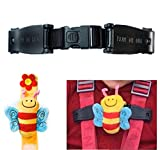 Buggy buddy BEE chest clip Child seat harness safety strap - stop your Houdini escaping , taking their arms out of the harness with Escape-me-not