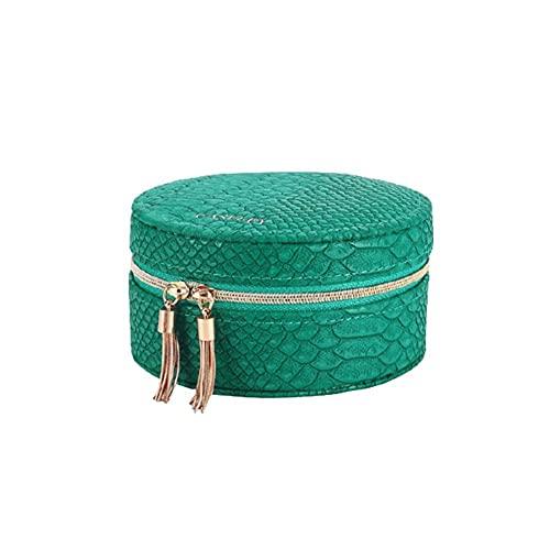 Kudiro Caja de almacenamiento de joyería pequeña caja de almacenamiento de joyería de viaje adecuado para anillo pendiente, collar, pulsera caja de regalo de joyería chica dama (verde)