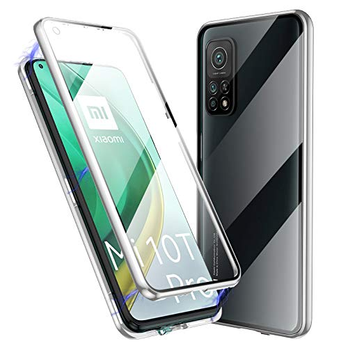 Jonwelsy Funda para Xiaomi Mi 10T / Mi 10T Pro, 360 Grados Delantera y Trasera de Transparente Vidrio Templado Case, Fuerte Tecnología Adsorción Magnética Metal Bumper Cubierta para Mi 10T (Plata)