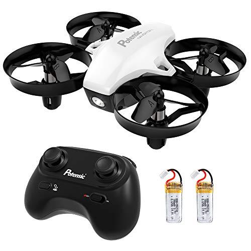 Potensic Mini Drone Drone con Due batterie Quadricottero Funzioni Sospensione Altitudine Un Pulsante di Decollo Atterraggio modalità Senza Testa Adatto per Principianti Buon Regalo per Bambini Bianco