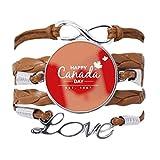 Pulsera con texto en inglés «Happy Canadá Day 4 of Julio Slogan Bracelet Love Chain Rope Ornament»