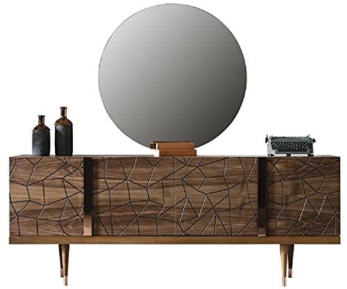 Casa Padrino Conjunto de Muebles de Lujo marrón/Cobre - 1 Aparador con 4 Puertas y 1 Espejo - Muebles Modernos de Madera Maciza - Colección de Lujo