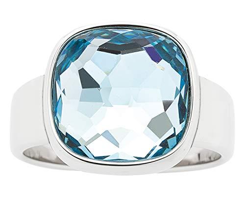 Jewels by Leonardo Damenring mit großem blauen Glasstein I Fingerring aus poliertem Edelstahl, silber
