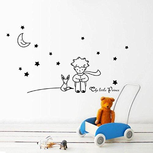 Vovotrade® Stars Moon The Little Prince Boy Wall Sticker Home Decor Wall Decals(Noir)