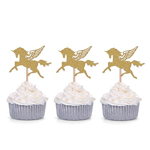 Set of 24 Gold Glitter Unicorn Cupcake Toppers Party Picks - by Giuffi
