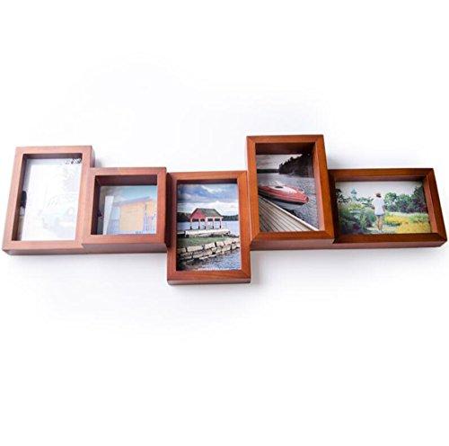 Yxsd Fotolijst van massief hout, combinatie van hout, fotodecoratie, wandplank, fotolijst van massief hout, woonkamer, zacht