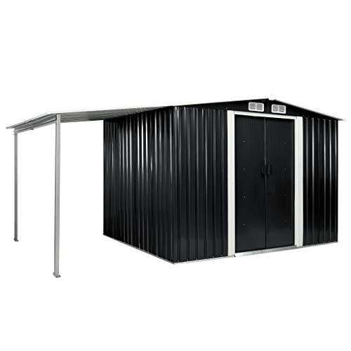vidaXL Gerätehaus mit Schiebetüren verlängertem Dach Geräteschuppen Garten Schuppen Gartenhaus Gartenschuppen Anthrazit 386x205x178cm Stahl