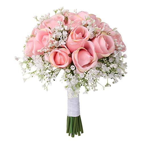 Ramos De Boda Artificial Rose Flores Novia Bouquet Simulación De Boda Rosa Ramo Hecho A Mano Ramos De Flores Falsas