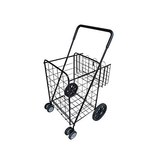 HSLINU Carrito de Compras Plegable con Ruedas giratorias de 360 ° y Canasta Adicional Mango de plástico cómodo Carro Ligero y fácil de Mover Carro portátil Plegable Compacto Ahorra Espacio