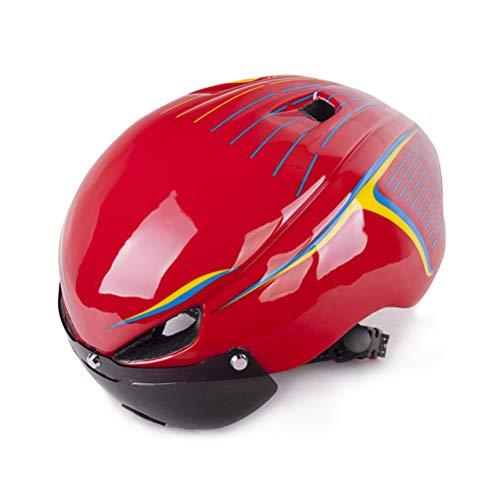 BIN 2019 Nieuwe Eéndelige Magnetische Brillen Helm Rijhelm Fiets Helm Met LDE Achterlichten Road Helm (Geef rijbril)