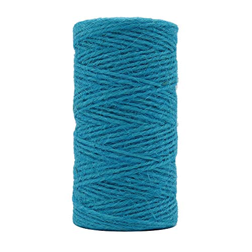 Tenn Well Jute Twine String, 335 Feet 2mm Jute Rope Gift Twine Packing String for Craft Projects, Wrapping, Gardening Applications (Turquoise Blue)