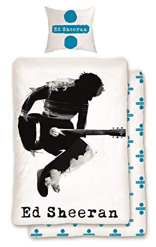 Familando Wende Bettwäsche-Set Ed Sheeran 135 x 200 cm 80 x 80 cm, 100% Baumwolle, Linon, Gitarre weiß, deutsche Standartgröße