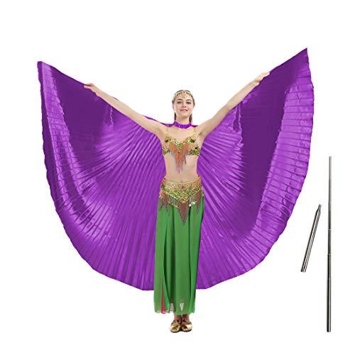 iMucci - Alas de Isis de 14 colores con palos telescópicos portátiles para danza del vientre, extensión de 360 grados. Para adultos y niños - Morado -