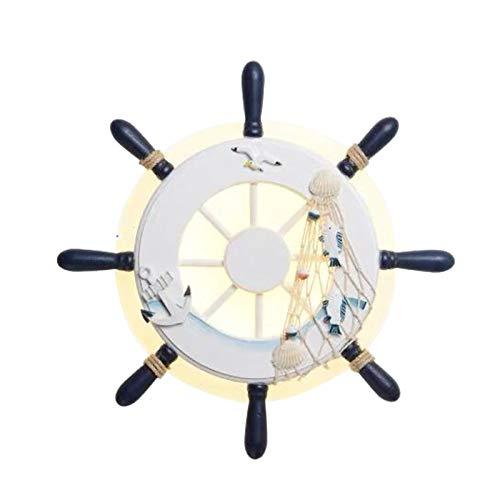 JHDUID Aplique de Pared Iluminación Playa Barco Dirección Timón Lámpara de Pared Accesorios LED Modernos Decoración 18W para Escalera Dormitorio Pasillo Baño Porche Sala de Estar,Blanco