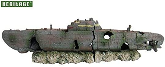 Adorno para acuario Heritage, submarino hundido, 2 unidades