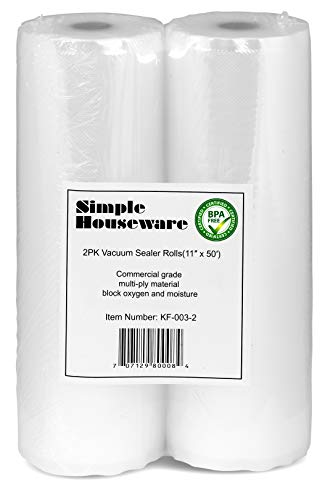 "2 Pack - SimpleHouseware 11"" x 50 Feet Vacuum Sealer Bags (total 100 feet)"