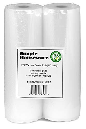 2 Pack - SimpleHouseware 11' x 50 Feet Vacuum Sealer Bags (total 100 feet)