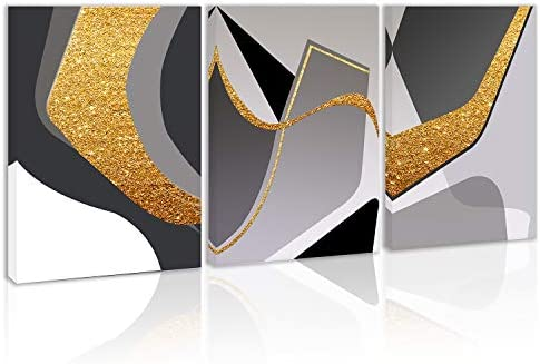 Gold Modern Abstract Wall Art Decor Black and White Artwork Canvas Painting Prints Pictures product image