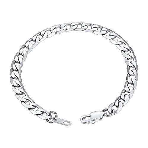 GoldChic Jewelry 6mm Men's Cuban Bracelet, 316L Stainless Steel Chunky Chain for Boys, 19CM
