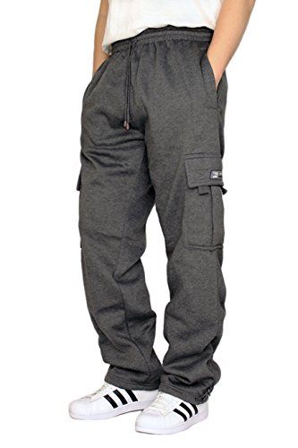 DREAM USA Men's Heavyweight Fleece Cargo Sweatpants, Charcoal, XX-Large