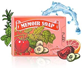 Memoir Natural Acne Treatment Soap for Sensitive Skin- Hyaluronic Acid, Tomato & Cucumber Extract, Grapefruit, Tea Tree & Eucalyptus Oil - Gentle Acne Cleanser, Body & Face Wash, Blackhead Removal