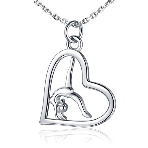Gymnastics Gifts for Girls Gymnast Necklace Dangle Earrings 925 Sterling Silver Team USA Gymnastics Girl Fashion Jewelry Pendant Necklace Sport Ballerina for Girl Birthday (Silver)