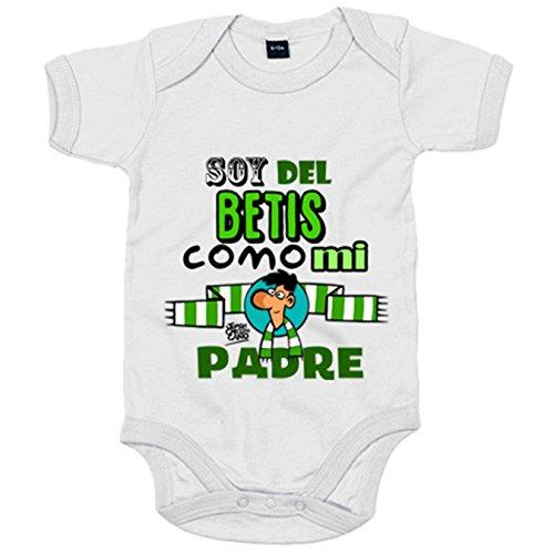 Body bebé frase soy del betis como mi padre ilustrado por Jorge Crespo Cano - Blanco, Talla única 12 meses
