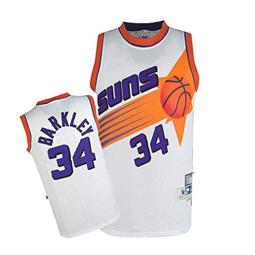 XSJY Jersey De Los Hombres Clásicos De Baloncesto - NBA Phoenix Suns # 34 Charles Barkley Jersey, Aficionados Sin Mangas De La Luz/Transpirable ala-Pívot Deportes Camisetas,A,XXL:185~190cm/95~110kg
