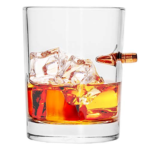 308 CALIBER WHISKEY GLASS | Embedded Bullet 10oz Borosilicate Rock Glass from LUCKY SHOT